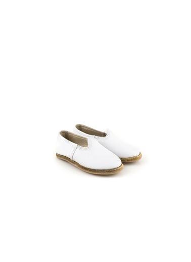 Aintap %100 Hakiki Deri Çocuk Ayakkabı Turquaz Gaziantep Yemeni Beyaz